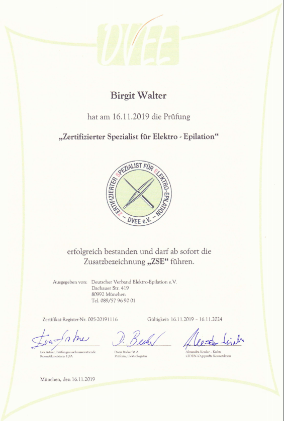 Zertifikat Birgit Walter 2019